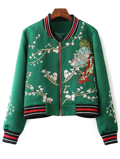 Stand Neck Flower Embroidered Bomber Jacket