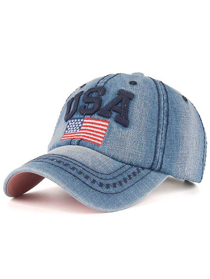 Letter and American Flag Embroidery Denim Baseball Hat