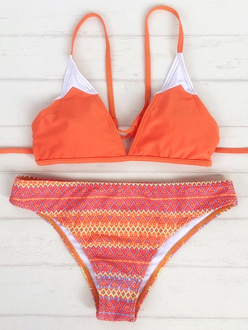 Printed Strappy Back Plunge Bikini