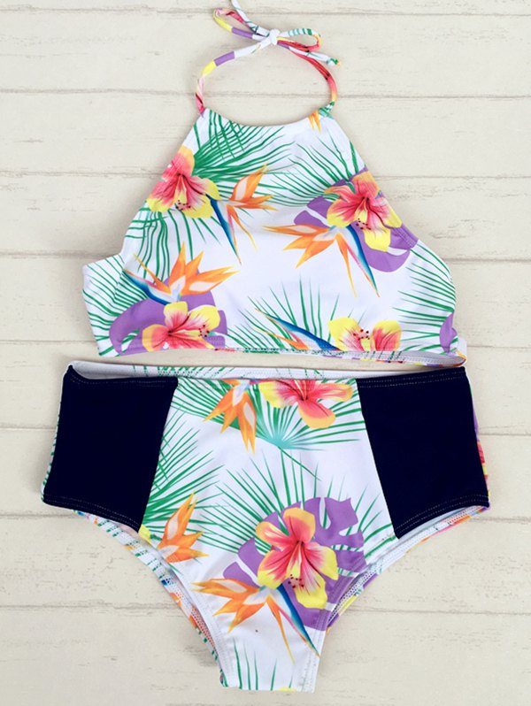 Tropical Print High Neck Bikini