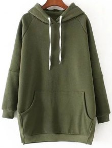 Loose Side Slit Hoodie - Green S