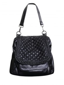 Plaid Pattern PU Leather Magnetic Closure Backpack