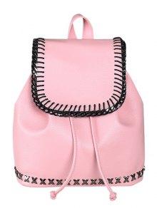 String Magnetic Closure Metal Backpack - Pink