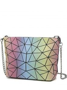 Chain Zipper Geometric Pattern Crossbody Bag
