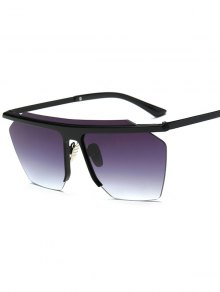 Rimless Cut Out Square Sunglasses