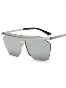 Rimless Mirrored Square Sunglasses - Silver