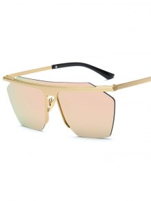 Rimless Mirrored Square Sunglasses