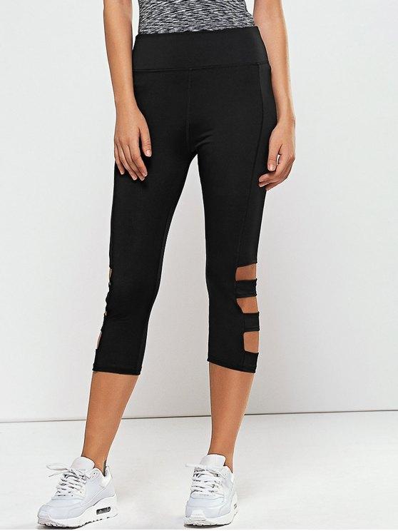 Hollow Out Quick -Dry Gym Capri Workout Pants - Noir S