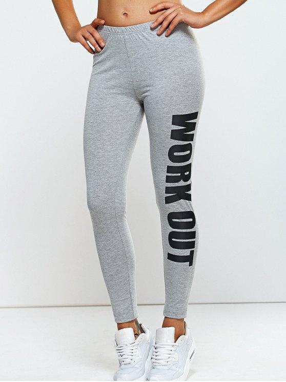 shops Stretchy Side Letter Print Skinny Pants - LIGHT GRAY ONE SIZE
