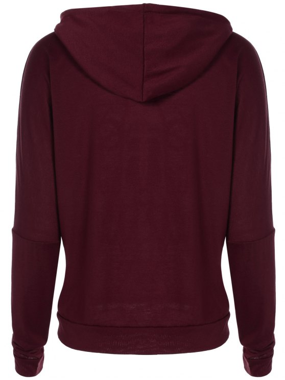 Christmas Snowflake Letter Print Hoodie - WINE RED XL Mobile
