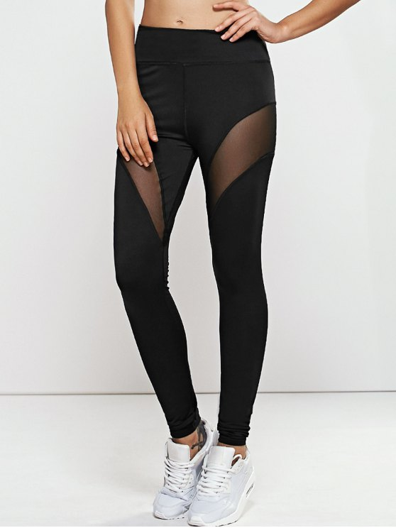 Quick -Dry Mesh Spliced Yoga Leggings Pants - BLACK L Mobile