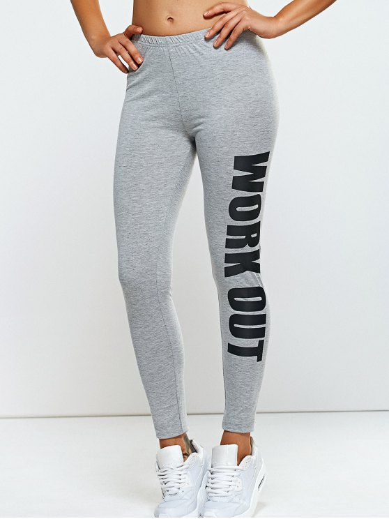 Stretchy Side Letter Print Skinny Pants - LIGHT GRAY ONE SIZE Mobile