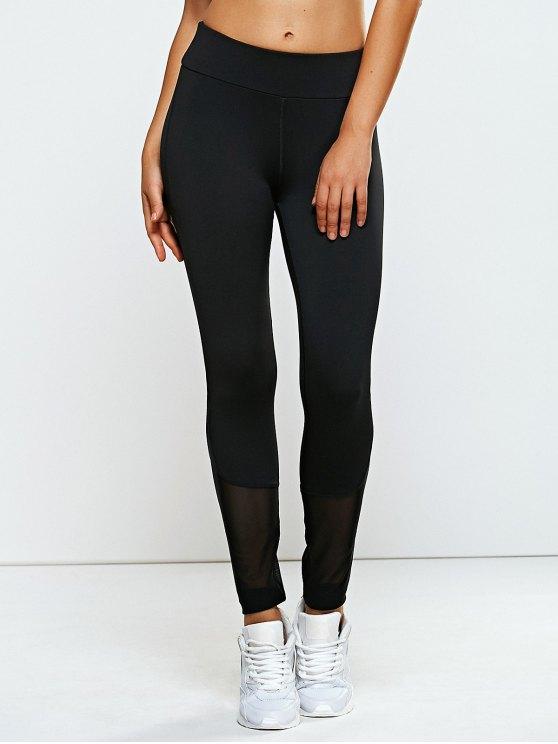 Talle alto de malla de las polainas de los pantalones de yoga empalmado - Negro M