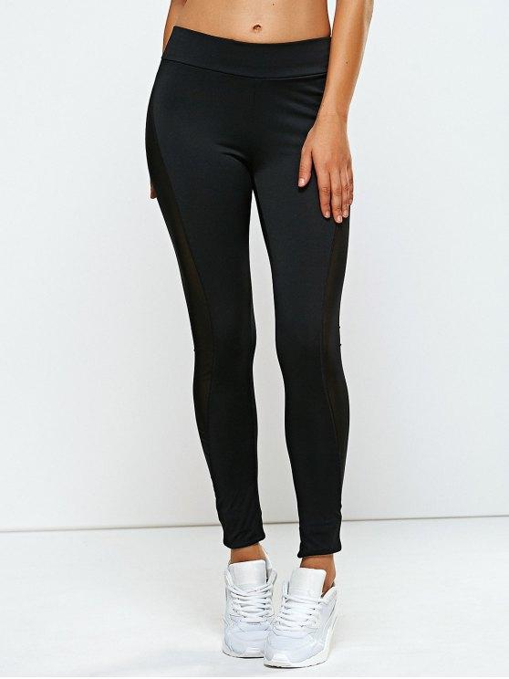 High Rise Mesh Panel Yoga Leggings BLACK: Active Bottoms | ZAFUL