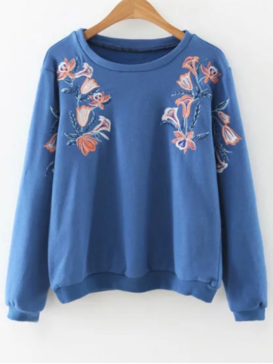 trendy Embroidered Loose Sweatshirt - BLUE S