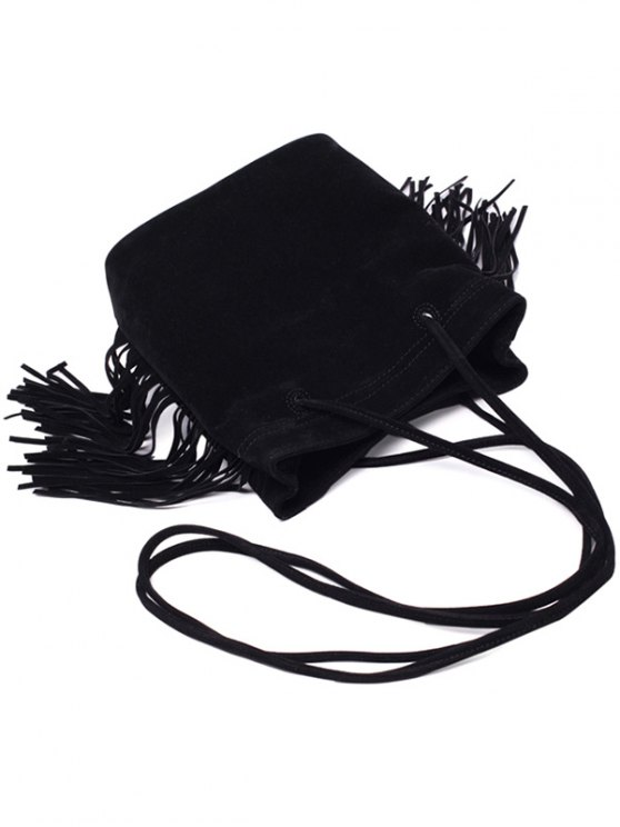Fringe Stitching Faux Suede Crossbody Bag - BLACK  Mobile