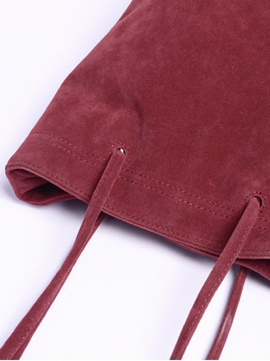 Faux Suede Magnetic Crossbody Bag - WINE RED  Mobile