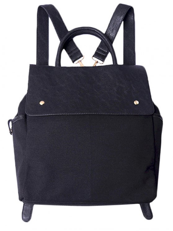 ladies Splicing Canvas Magnetic Closure Backpack - BLACK