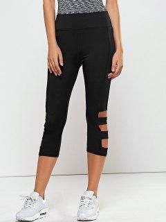 Hollow Out Quick -Dry Gym Capri Workout Pants - Black M