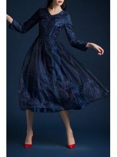 Embroidered Long Sleeve Midi Dress - Deep Blue S