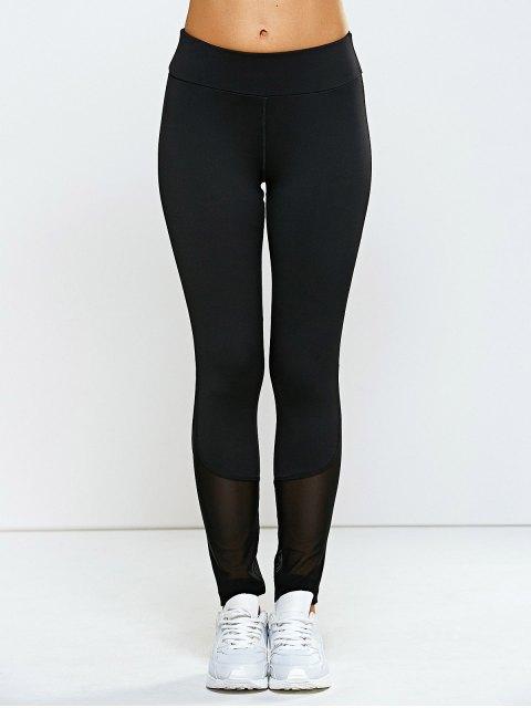 trendy High Waisted Mesh Spliced Yoga Leggings Pants - BLACK M Mobile