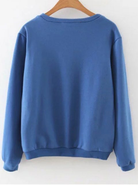 trendy Embroidered Loose Sweatshirt - BLUE S Mobile
