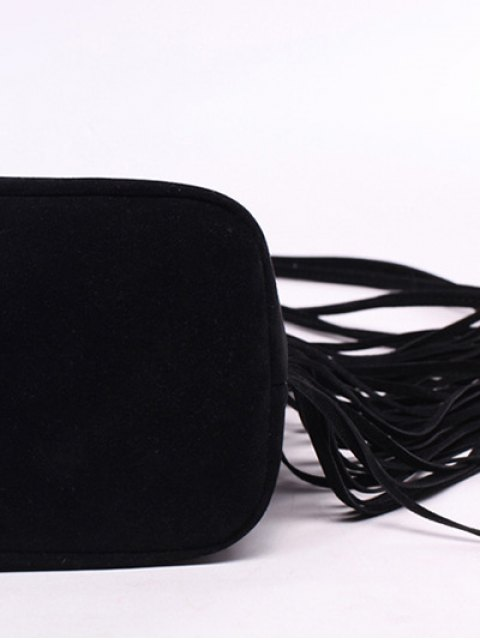 trendy Fringe Stitching Faux Suede Crossbody Bag - BLACK  Mobile