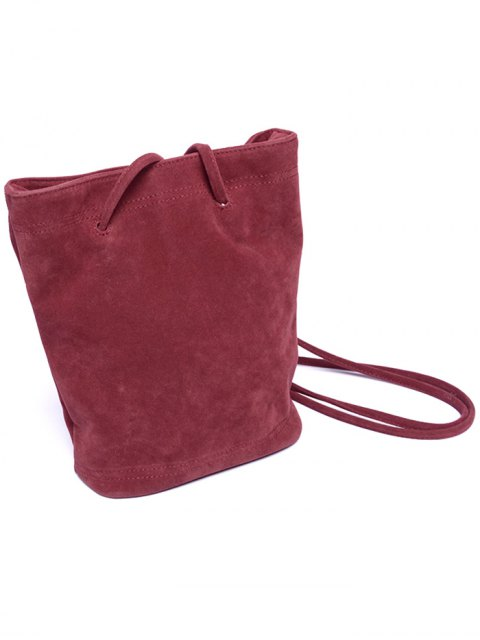 fancy Faux Suede Magnetic Crossbody Bag - WINE RED  Mobile