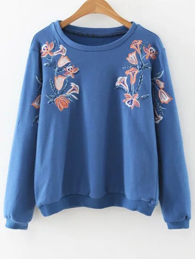 Embroidered Loose Sweatshirt - Blue
