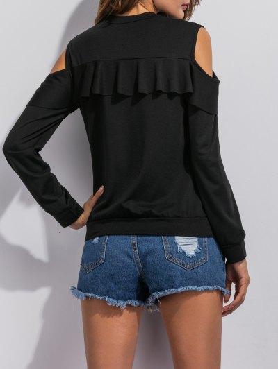Cut Out Shoulder Ruffles Sweatshirt - BLACK L Mobile