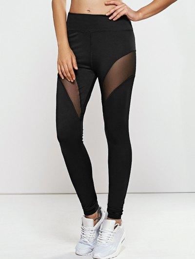 Breve -Dry Mesh Leggings Yoga Pantalones Empalmado - Negro