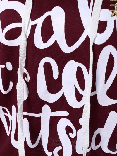 Christmas Snowflake Letter Print Hoodie - WINE RED L Mobile
