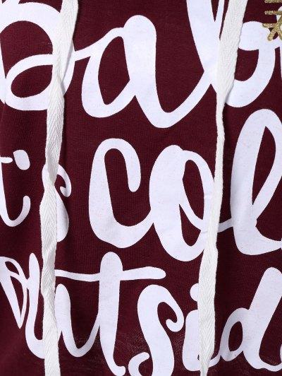 Christmas Snowflake Letter Print Hoodie - WINE RED M Mobile