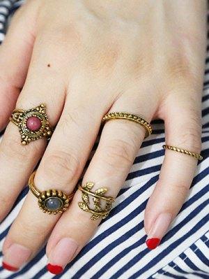 Rhinestone Alloy Leaf Boho Jewelry Rings - Golden
