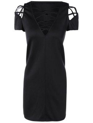 V Neck Strappy Shift Dress - Black