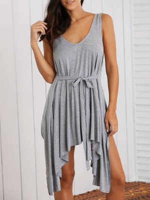 Low Cut Layered Casual Dress - Gray
