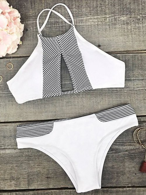 Striped Cutout Halter Bikini