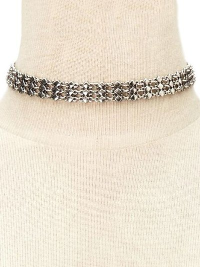 Alloy Layered Geometric Choker Necklace
