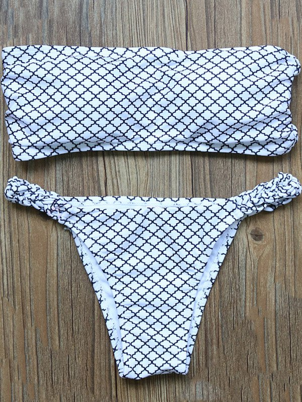 Strapless Checked Low Rise Bikini Set