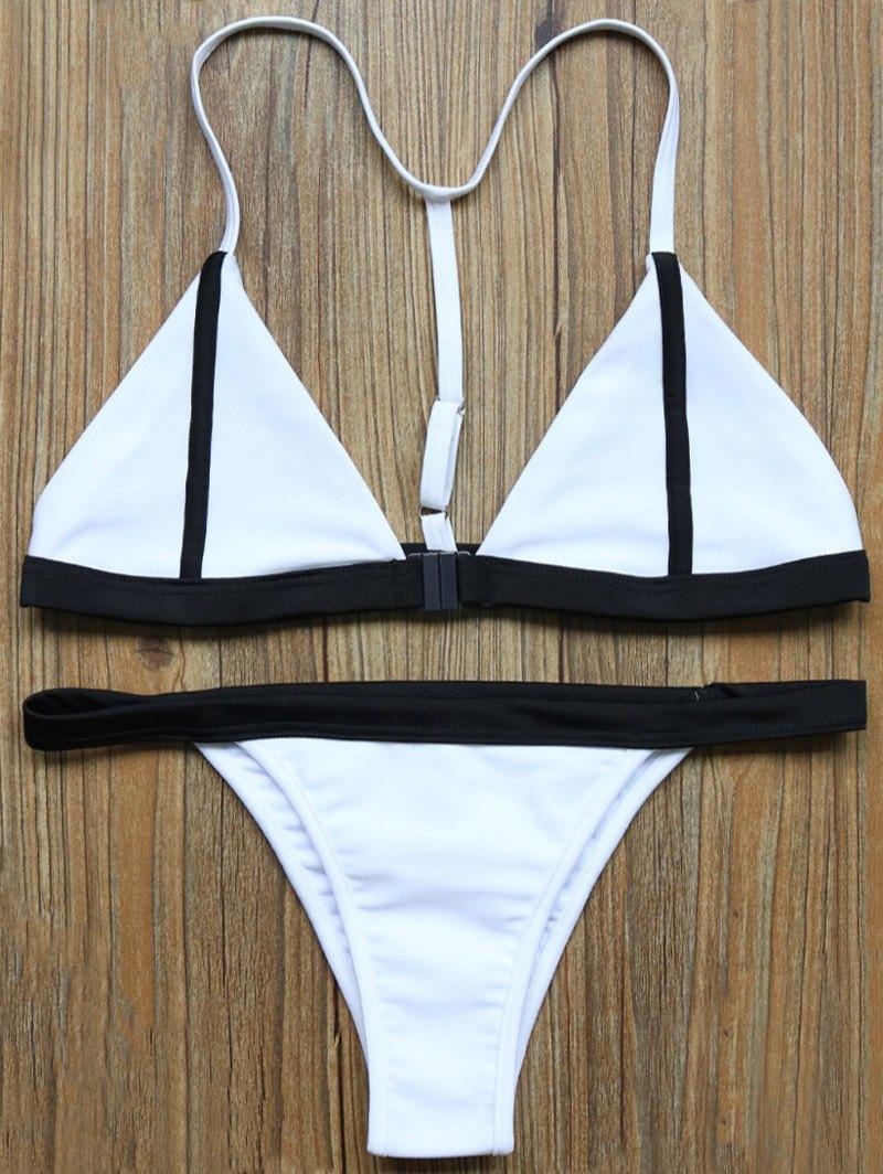 Color Block Plunge Bikini Set