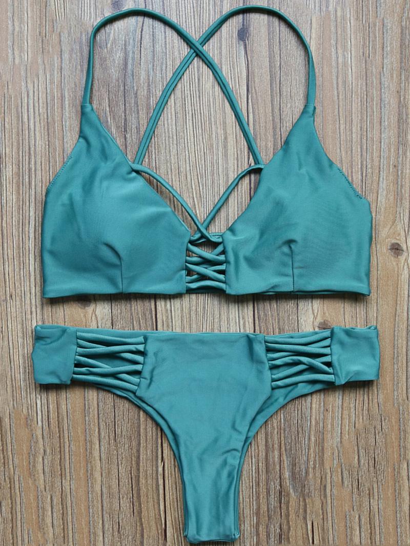 High Cut Lattice Bikini Set