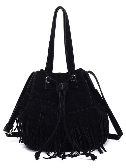 Drawstring Faux Suede Shoulder Bag