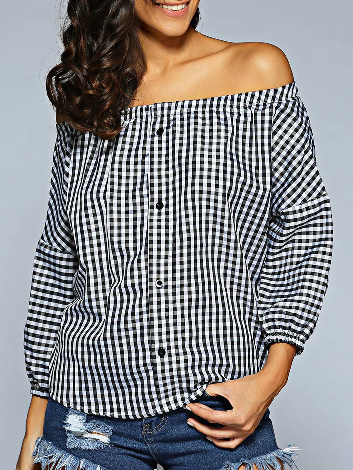 Off The Shoulder Checked ShirtClothes<br><br><br>Size: ONE SIZE<br>Color: PLAID