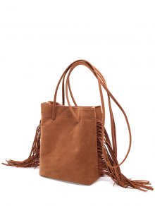 Fringe Stitching Faux Suede Crossbody Bag - Brown