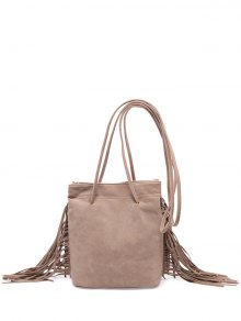 Fringe Stitching Faux Suede Crossbody Bag - Light Camel