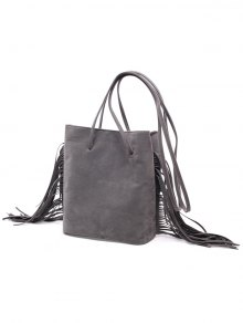 Fringe Stitching Faux Suede Crossbody Bag - GRAY