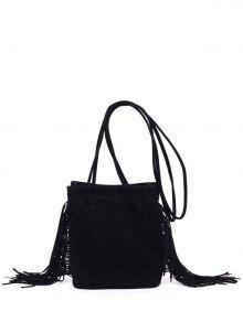 Fringe Stitching Faux Suede Crossbody Bag - Black