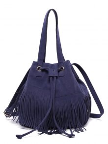 Drawstring Fringe Faux Suede Shoulder Bag