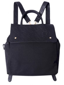 Splicing Canvas Magnetic Closure Backpack - Black