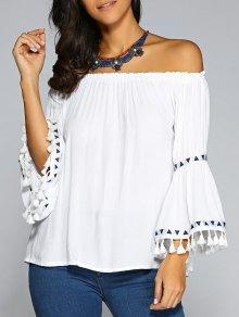 Buy Shoulder Flare Sleeve Chiffon Blouse - WHITE ONE SIZE
